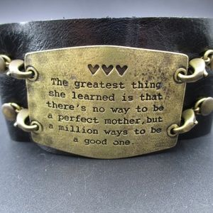 "Vintage 8"" Rustic Perfect Mother Leather Bracelet"